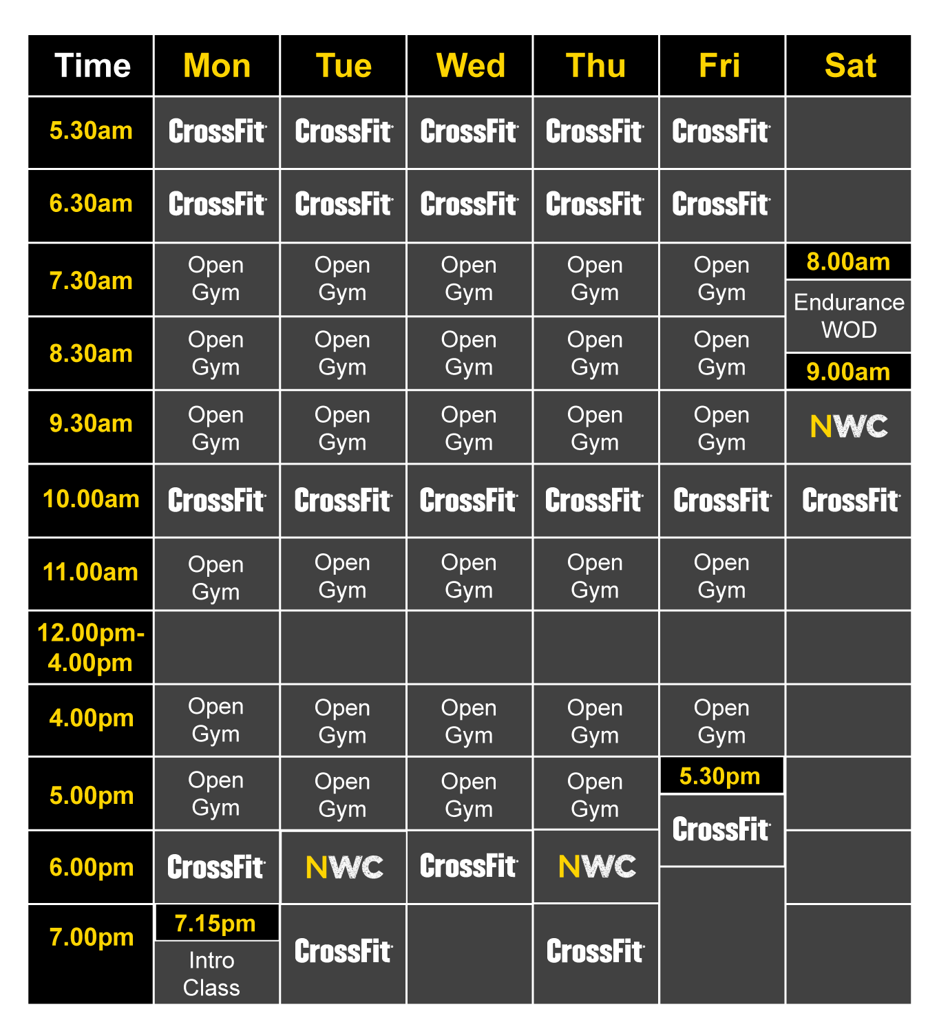 CrossFit Turmoil Timetable