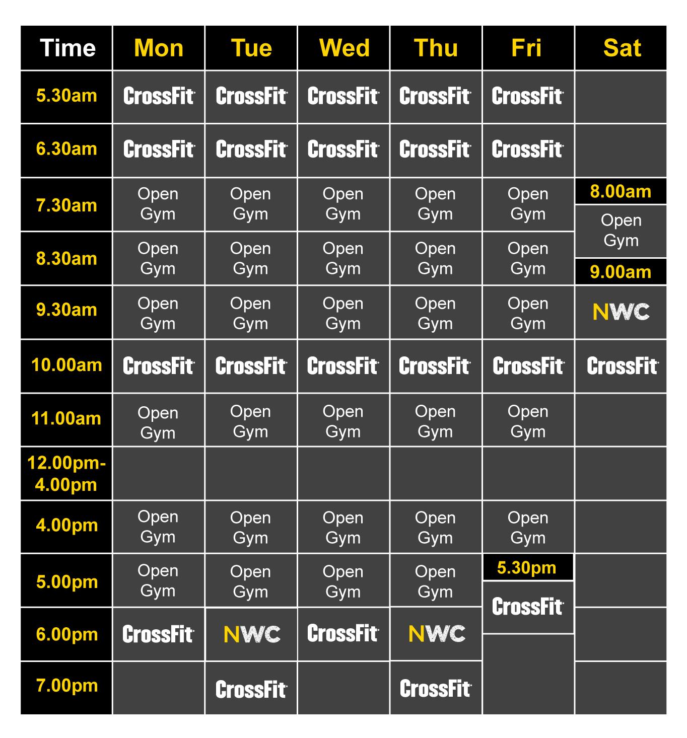 CrossFit Turmoil Timetable